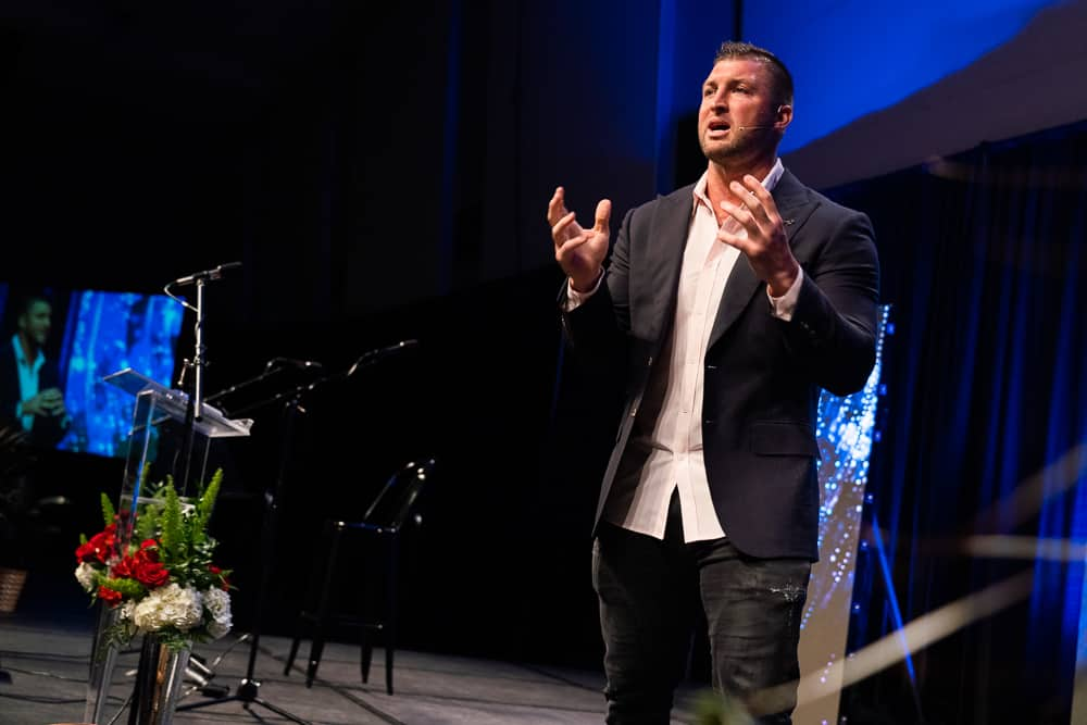 tim tebow on stage at the celebrate life event