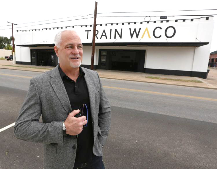david littlewood in front of the future home of TFNB in East Waco