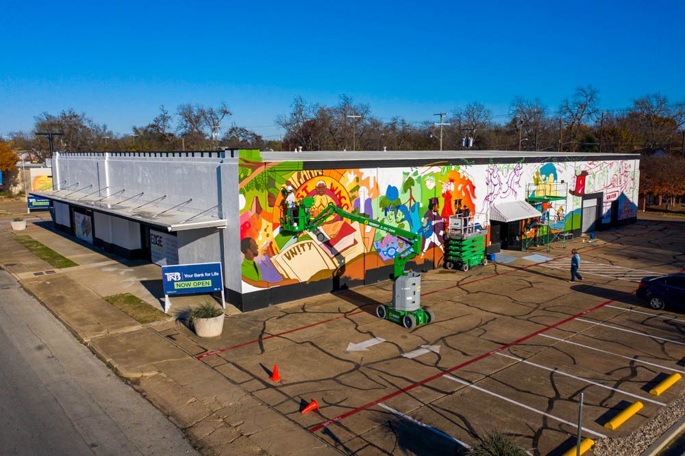 tfnb's east waco location with the tree of life mural going up