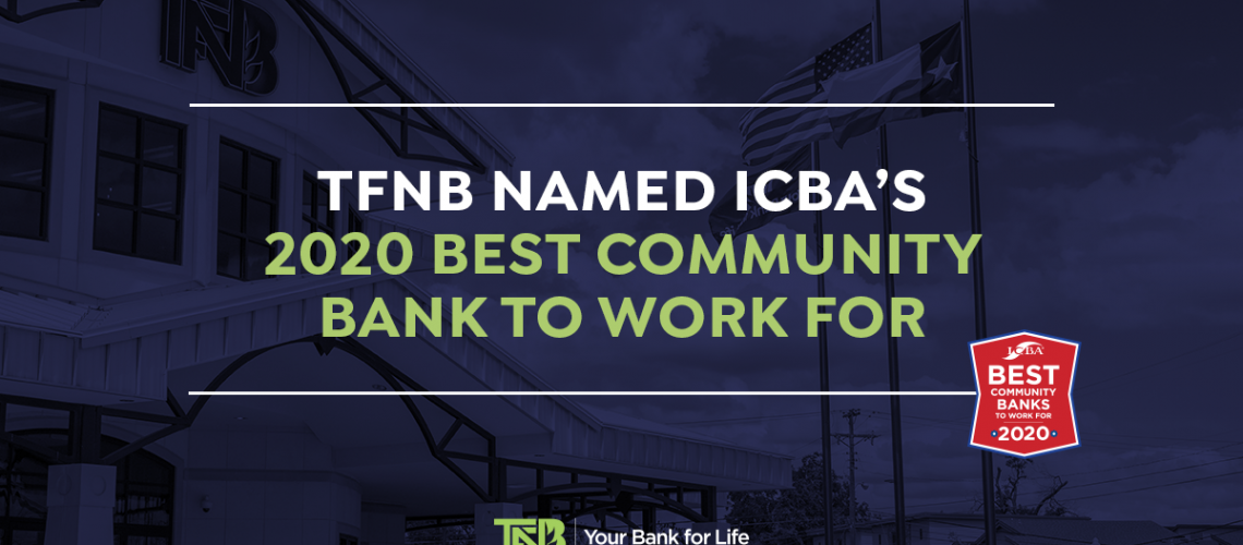 TFNB Named ICBA's 2020 Best Community Bank to Work For